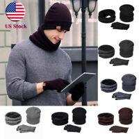 Winter Women Men 3Pcs/Set Wool Knit Beanies Hat Cap Scarf Rub Screen Gloves US