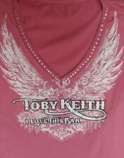 Toby Keith I Love This Bar Country Red Shirt Rhinestone Studded Logo V- Neck S
