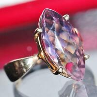 14k yellow gold ring 3.75ct natural ametrine solitaire size 5.5 vintage 4.3gr