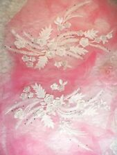 """Embroidered 3D Dance Appliques White Floral Mirror Pair 13"""" (DH76)"""