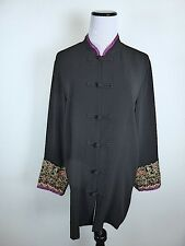 HARARI BLACK MULTICOLOR EMBROIDERED ASIAN JACKET TOP XL pink silk lined