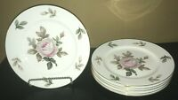 "(6) Noritake LYRIC Pink Rose 10 1/4"" Dinner Plates"