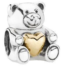 Genuine Pandora Golden Heart Teddy Bear charm Silver S925 ALE 791166