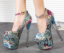 Womens Super High Heel Platform Stilettos Ethnic Style Floral Nightclub Shoes