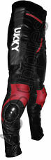 """LUCKY STRIKE"" New Black/Red Leather Motorcycle Trousers Pants - All sizes!"