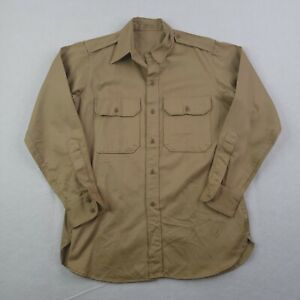 Vintage Military Button Up Shirt Adult 15.5 33 Brown Cotton Twill Pockets Cargo