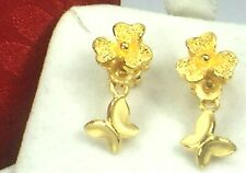 with Flower dangling earrings.4.3gm Pouch 24K 999.0 Chow Tai Fook Butterfly