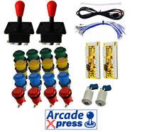Kit Joysticks Americanos Rojos Arcade 16 botones 2 players USB Bartop Mame