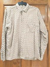 Vtg Ivory & Brown Print Button Down Long Sleeve Shirt