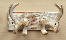 Antler hooks whitewashed cast iron hat, coat, or key rack