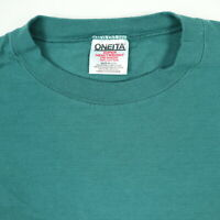 Vtg 90s Deadstock Oneita T-Shirt XL Subtle Striped Surfer Grunge Green USA Made