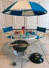 American Girl Of Today Patio Furniture Umbrella Table Grill Cookout Set  Retired