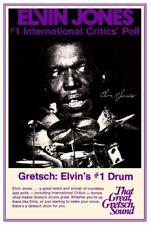 Elvin Jones * POSTER * Gretsch Drums Promo ad JAZZ MASTER Drummer Miles Coltrane