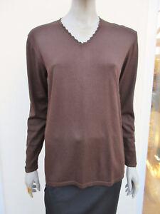 Gollehaug - Brown Fine Knit Bead Trim Long Sleeved Jumper - size Eur 42 / UK 16
