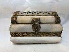 1890'S ANTIQUE IVORY  COLOR STONE BRASS TRIM DOME TOP JEWELRY TRINKET BOX