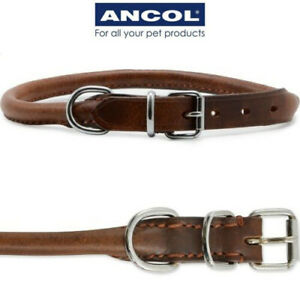 Ancol Heritage Dog Puppy Leather Collar Round Rolled Chestnut Brown Size 1-8
