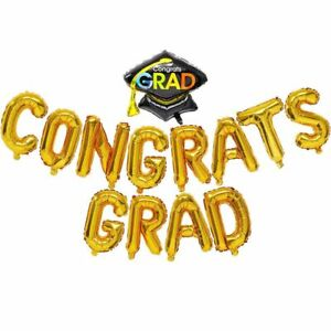 "13Pcs Congrats Grad Design Balloon Banner 16"" for Graduation Party Decorations"