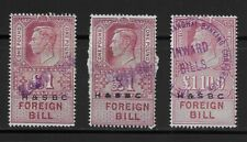 L4124 GB UK REVENUE STAMPS KGVI FOREIGN BILL  H&SBC OVPT