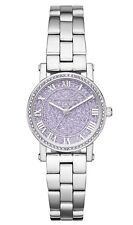 Michael Kors Noire Stainless Steel Lavender Pave 28mm Wrist Watch $325 NEW NWT