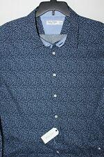 New Nautica 2XL XXL WR7416 Shirt Navy Blue small flowers Classic Fit Long sleeve