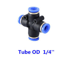 5pcs Pneumatic Cross Union Push In To Connect Fitting Tube OD 1/4 Quick Release