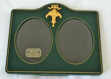 English Enamel & Gold Double Picture Frame w/ Flower Basket 22ct Gold Platted