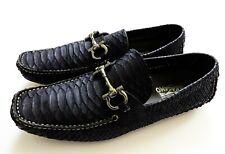 NEW SALVATORE FERRAGAMO Navy Python Snakeskin Leather Shoes 7.5 US 41.5 Euro 6.5