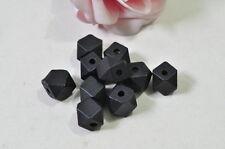 20pcs 12mm Black Finished Natural Wood Bead 14 Hedron Geometric Figure Solid