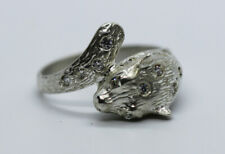 LEOPARDS HEAD CUBIC ZIRCONIA BUST RING STERLING SILVER RING 925