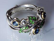 Barbara Bixby Sterling 18k Gold Vine&Leaf Pave' Gemstone Blue Topaz Ring Size 10