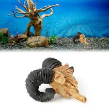 1PC Goat Skull View Moss Tree House Cave Aquarium Fish Tank Ornament Decor Hot