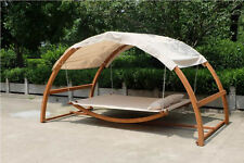 NEW Deluxe Two Person Arched Wood Swing Canopy Bed / Hammock - Porch Swing Bed