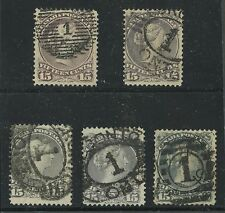 Canada 1868 Large Queen 15c  Toronto '1' cancels various printings #29, 30, 30b