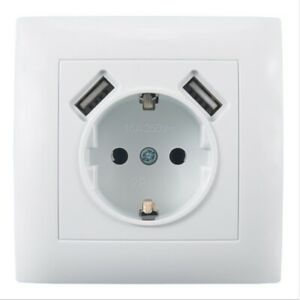 Electrical Wall Socket Double USB Charging Port 220-250V 16A Power Socket Outlet