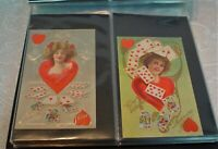 Antique Postcards in Album; 130 Poker/Playing Cards Theme circa 1900 Some Posted