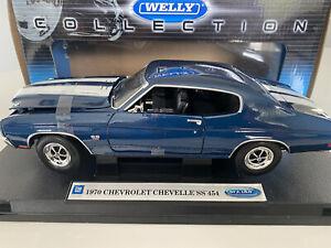 Welly 1:18 1970 Chevrolet SS 454 Blue Diecast No.19855W MIB