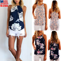 Summer Women Ladies Sleeveless Boho Floral Vest Blouse Loose Tank Tops T-shirts
