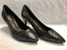 Rockport Shoes Heels Womens 9.5 M Total Motion Black Silver Leather Trutech