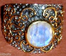 GORGEOUS! VINTAGE 925 ANTIQUED SILVER with brass MOONSTONE RING - SIZE 8.25