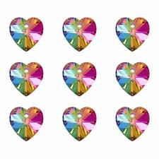 100pcs Heart Electro Plated Glass Pendant Silver Bottom Faceted Colourful Charm