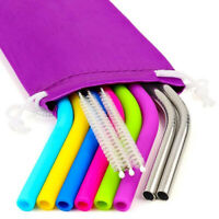 Reusable Silicone Straw Stainless Steel Straws With Cleaner Brush Packaging Bag