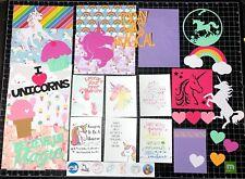 Unicorn Scrapbook Kit!  Project Life, Paper,  die cuts, Rainbow, Scrapbook paper