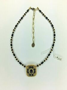 Michal Golan 24k gold Vintage Black Onyx Necklace Pendant and Beaded Handmade