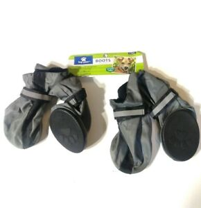Top Paw Non-Skid Rubber Bottom Dog Boots XL Water Resistant Reflective Gray New