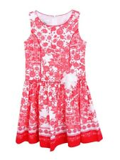 Bonnie Jean Juniors' Floral-Print Poplin Dress 12, Coral/White