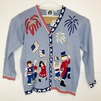 Storybook Knits Women's Cardigan 4th of July Parade Fireworks Blue Size Large