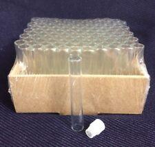 100 Pcs Clear 5/8 Dram Glass Vials with White Orifice Reducer Cap 2.3ml