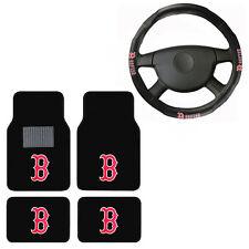 New 5pc MLB Boston Red Sox Car Truck Floor Mats & Steering Wheel Cover Set