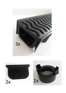 3x Shallow Channel Drain 1m Garage Pack, 1x Body Outlet 2x Endcap