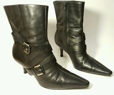 Essence womens black leather heeled ankle boots  UK 5